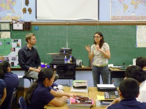 Teacher Brad Parker and teaching artist Jessi Walsh  at Locke Elementary
