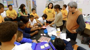 Teacher Armando Avila and teaching artist Michelle Alba work with science students at Marsh Elementary